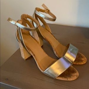 Anthropologie Gold Cork Chunky Heels Size 9